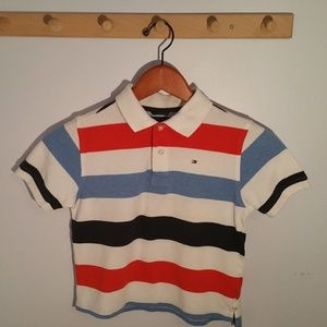 Tommy Hilfiger Size 7 Blue Red Striped Polo Shirt